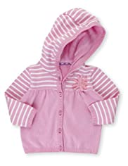 Pure Cotton Striped Hooded Cardigan