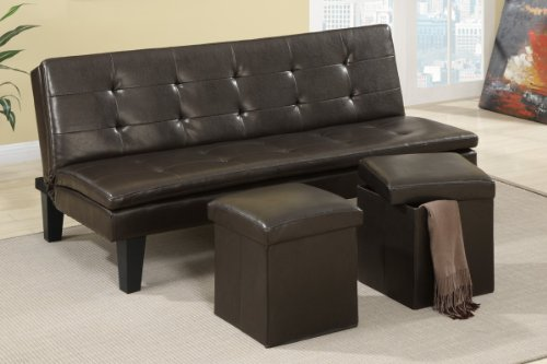 Adjustable Sofa w/Espresso Ottoman (Set of 2) in Faux Espresso Leather by Poundex