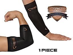 Copper Tough Compression Elbow Brace - High Performance Copper Compression Sleeve for Enhanced Circulation, Recovery, Joint Pain and Support for Men and Women - Athletic or Everyday Use - Large
