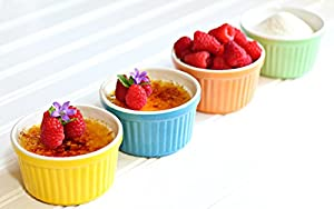 Creme Brulee Ramekins Fiestaware Baking Dishes Set of 4,3.75x2in,5oz/150ml,Stoneware