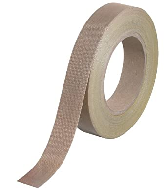 "Teflon T963223 PTFE Glass Cloth Backing Adhesive Tape, 36 yds Length x 1/2"" Width, 12 mil Thick, Brown"