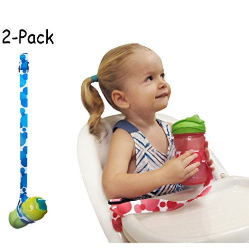 2-Pack Multipurpose and Adjustable Cup/Bottle Strap. Sippy Cup Strap for High Chairs, Strollers, Bikes. Leash Also Secures Sports Bottles, Baby Bottles & Toys (Blue) (Baby Sport Bottle compare prices)