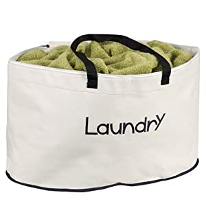 Household Essentials 5630 Oval-Shaped Laundry Hamper with Carrying Straps