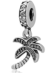 Choruslove Coconut Tree With Clear Cz Charm 925 Sterling Silver Dangle Pendant For Most Brand Style Charm Bracelets