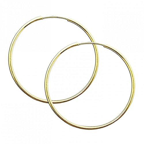 1-Paar-Glnzende-Creolen-Creole-50mm-Ohrringe-925-Sterling-Silber-24-Karat-Gold-Vergoldet-Ohrschmuck-Silberschmuck