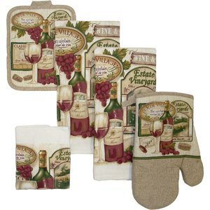 7 Piece Estate Vineyard Dish Towel Set/ 3 Dish Towels 2Pot Holders/OVen Mitt and Dish Cloth