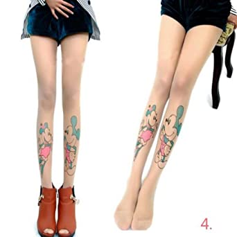 Amazon.com: Zehui Sexy Womens Tattoo Sock Pantyhose Tights