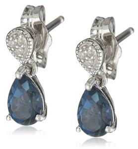 Sterling Silver London Blue Topaz Drop Earrings