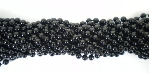 33 inch 07mm Round Black Mardi Gras Beads - 6 Dozen (72 necklaces)