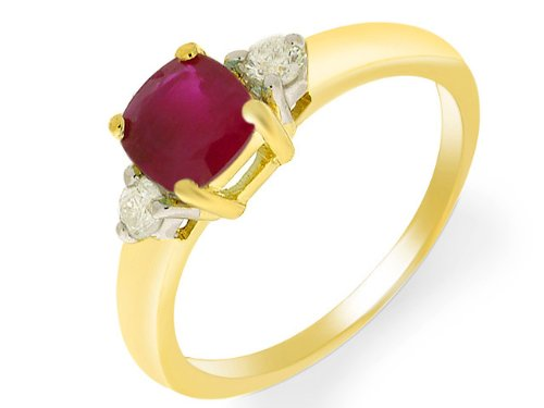 9ct Yellow gold Ruby and Diamond Ring - Size P