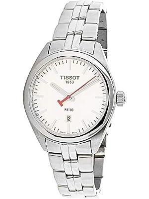 Tissot レディース Prの100 Nbaステンレス鋼クォーツ時計の文字盤 銀
