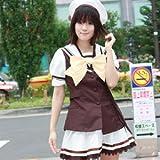 イエローリボン学園服 白×ブラウン costume267 コスプレ コスチューム衣装 メイド AKBアキバ 女子高生 セーラー服 2l