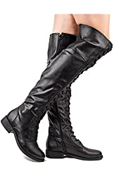 Bamboo Jagger-04a Women's Uber Tall Leatherette Lace-Up Over the Knee Boot - Black Pebble PU