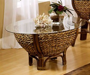 Tropical Rattan and Wicker Round Coffee Table with Glass Top - Maui from Seawinds Trading