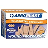 Aeroplast Plasters Assorted Latex free (Pack 100) - 100 plasters. 6 sizes including finger tip, strip, square, patch, standard and knuckle plasters.