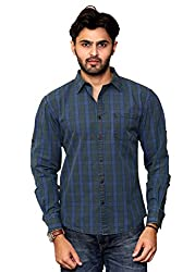 Rafters green, yellow and indigo blue check, full sleeves men's slim fit casual shirt
