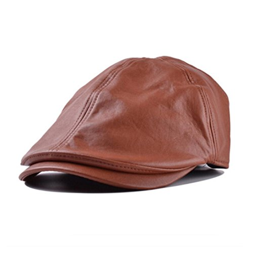 Fheaven Mens Women Vintage Leather Beret Cap Peaked Hat Newsboy Sunscreen (Brown) (Mens Peaked Hats compare prices)