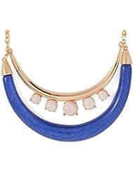 Voylla Ravishing Blue And White Beads Studded Gold Tone Necklace