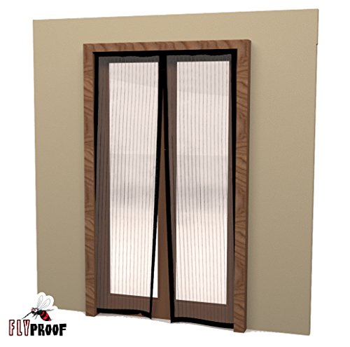 Fly proof magnetic screen door mesh curtain 80 x 72 inch for Fly curtains for french doors