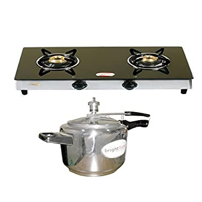 Bright Flame 2 Burner Black & Pressure Cooker 5 Ltr Stainless Steel