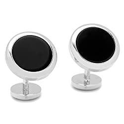 Double Sided Onyx Round Beveled Cufflinks