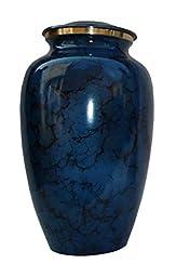 Urnsdirect2u Mystic Blue Brass Urn, Adult Size