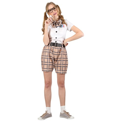 High School Nerd Geek Womens Fun Party Fancy Dress Costume