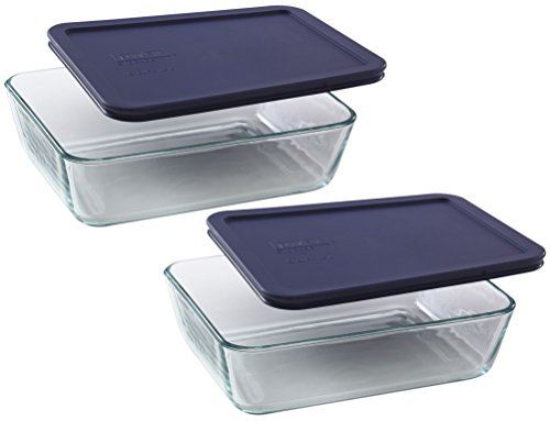 Pyrex Storage 6-Cup Rectangular Dish with Dark Blue Plastic Cover, Clear, Box of 2 Containers (Dish Storage Covers compare prices)