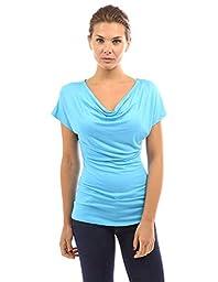 PattyBoutik Women\'s Cowl Neck Short Sleeve Top (Blue S)