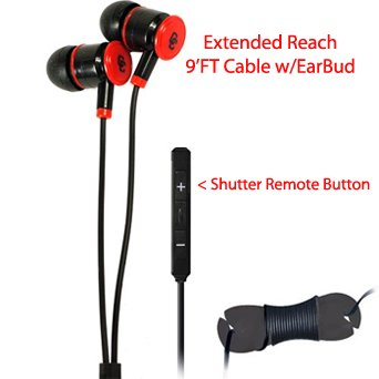 Chargercity Selfie Camera Shutter Release Remote Cable For All Apple Ipad 6 5 4 3 Air Mini Retina, Iphone 5S 5C 5 4S (Extended 9'Feet Long) W/Stereo Earbud For Recording & Photobooth Picture Taking With Your Apple Products *Includes Cord Organizer*