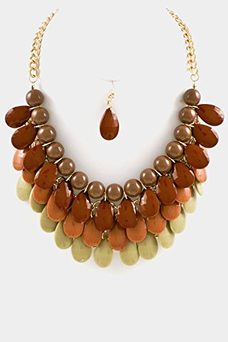Glitz Finery Tear Drop Stonewith Stairs With Beads Ball Bib Necklace Set (Brown)