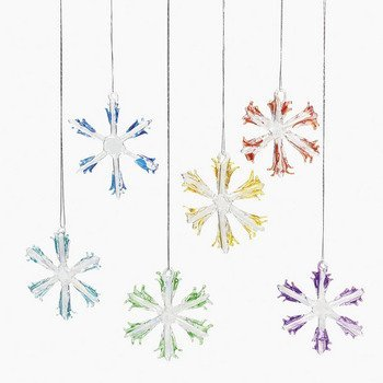 12 Assorted Glass Snowflake Ornaments