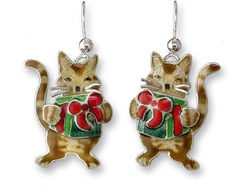 Gifted Kitty Cat Dangling Sterling Silver & Enamel Earrings