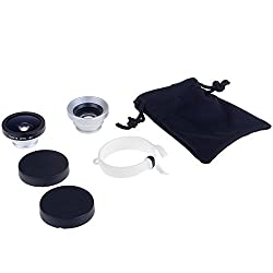 Neewer 3 in 1 Universal Circle Clip Lens Kit 180 Degrees Fisheye + Wide angle + Macro for Most Mobile Phone, such as iPhone6 6plus / 5 5c 5s / 4 4s / Samsung Galaxy S5 G900H /S4 i9500 / S3 i9300 / Note 2 II / Note 3 III/ Note 4 IV/ HTC / iPad / Tablet PC