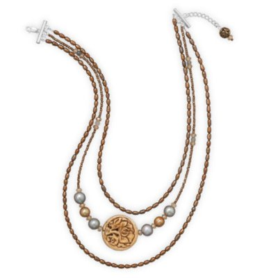 Three Strand Necklace Bronze Pearl Gray Quartz Floral Disc Sterling Silver - Made in the USA