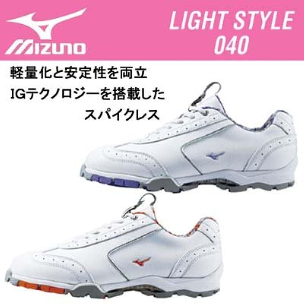 [해외] (미즈노) MIZUNO 라이트 스타일040레이디스 골프 슈즈[45KW-040] (Size:22.5cm(3E)|Color:54(화이트×오렌지))