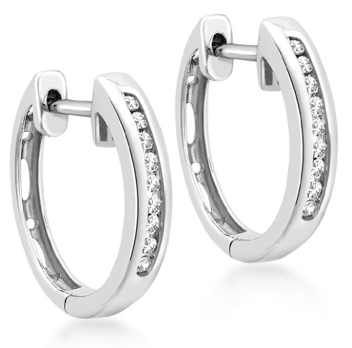 9ct White Gold 0.1ct Diamond 14mm Huggy Earrings