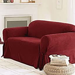 Sure Fit Soft Suede 1-Piece  - Sofa Slipcover  - Burgundy (SF26186)