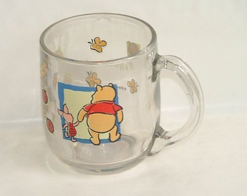 Disney Pooh Clear Glass Cup. - 1