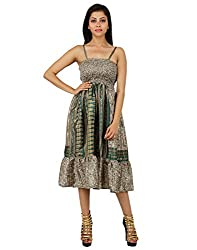 Gorgeous Polyester Floral Dress Green Printed Medium For Ladies By Rajrang