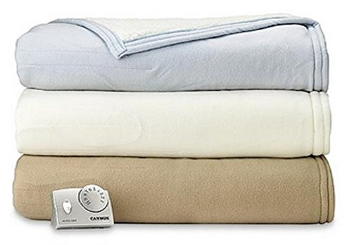 Heated Sherpa Blanket - Full Size - Beige & Tan