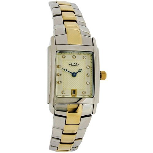 Rotary Ladies Date Square Champagne Dial Metal Bracelet Strap Watch LB72830-40