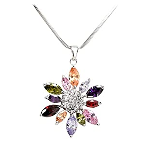 Women's Fashion Jewelry Water Wave Necklace with 12 Point Multicolor Cubic Zirconia Pendant