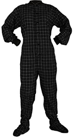 Big Feet PJs Black Plaid Cotton Flannel Adult Footed Pajamas w/Drop-seat (XS)