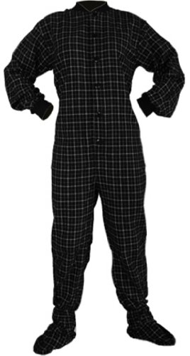 Big Feet Pjs Black Plaid Cotton Flannel Adult Footed Pajamas No Drop-Seat (Xs) front-1008599