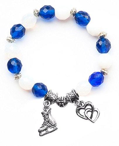 """Hockey Skate"" Girls Hockey Bracelet (Team Colors Royal Blue & White)-Small"