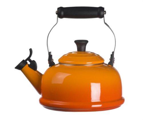 Le Creuset Enamel-on-Steel Whistling 1.7 Quart Teakettle, Flame (Enamel Tea Kettle Whistling compare prices)
