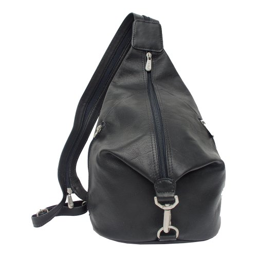 Piel Leather Three-Zip Hobo Sling, Black, One Size