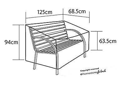 HomeStore Global Schutzhülle für Gartenbank mit Runde Armlehnen - 125 (l) x 68.5 (p) x 94/63.5 (h) cm ,Dick und hochwertigen Polyester Canvas, All-Wetter-beständig und anti-Feuchtigkeit - Braun von HomeStore Global - Gartenmöbel von Du und Dein Garten