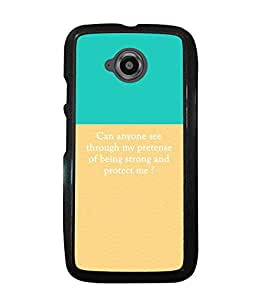 PRINTVISA Strong And protect me Premium Metallic Insert Back Case Cover for Motorola Moto E2 - D5877